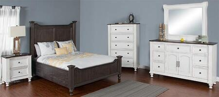 Carriage House Collection 2308ECQBDMNC 5-Piece Bedroom Set with Queen Bed  Dresser  Mirror  Nightstand and Chest in European Cottage