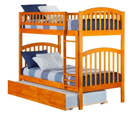 Richland AB64157 Twin Over Twin Bunk Bed With Urban Trundle Bed In Caramel