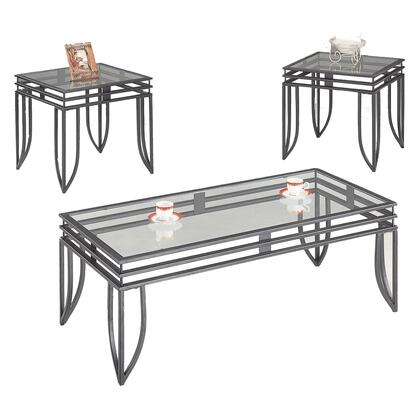 7140 Contemporary 3 Piece Occasional Table Set with Glass Tops by Coaster