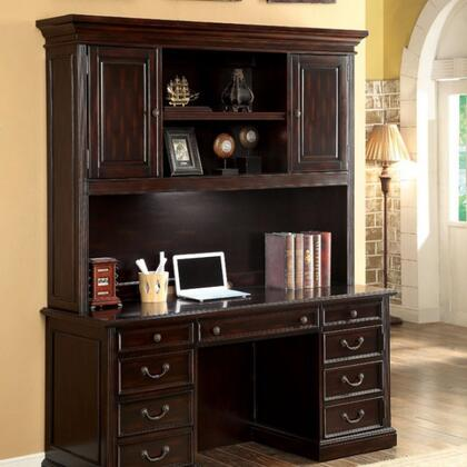 Coolidge CM-DK6208H Desk Hutch with Transitional Style  Multiple Drawers  Keyboard Tray  Solid Wood  Wood Veneer and Others in