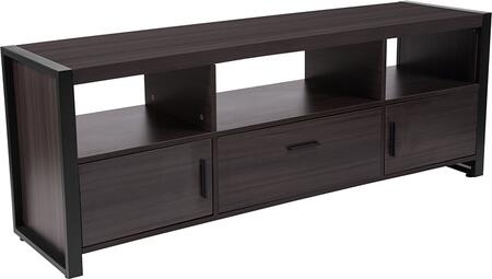 NAN-JH-1732-GG Thompson Collection Charcoal Wood Grain Finish TV Stand and Media Console with Black Metal
