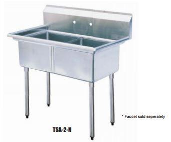 TSA-2-N Drain Board 42 inch W Two Compartment Sink with Swirl Away Bowl Drainage and Adjustable ABS Bullet Feet in Stainless