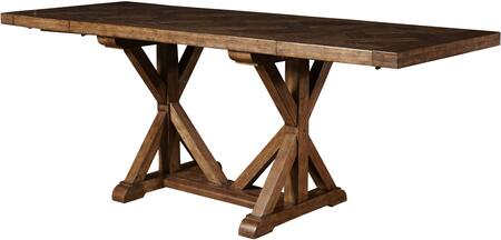 8854-136 60 inch  American Attitude Saw Horse Gathering Table with Two Matching 18 inch  Leaves  Turned posts  Distressed Detailing and Stretchers in