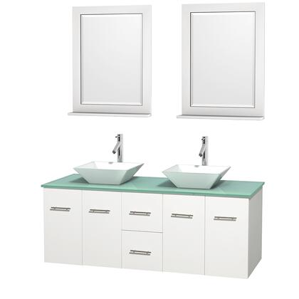 Wcvw00960dwhggd2wm24 60 In. Double Bathroom Vanity In White  Green Glass Countertop  Pyra White Porcelain Sinks  And 24 In.