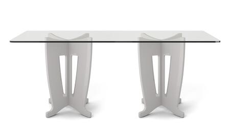"Jane 2.0 Collection 105454 79"" Rectangle Table with Sleek Tempered Glass Table Top and X Design Base in"