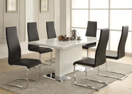 Nameth 102310setb 7 Pc Dining Room Set With White Table + 6 Black Color Side