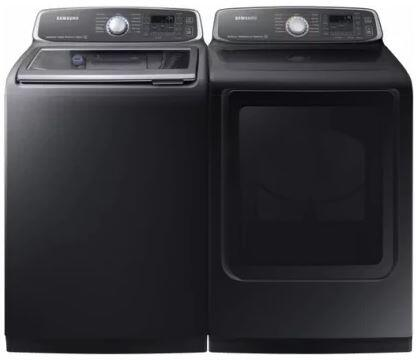 27 Inch Laundry Pair with WA52M7750AV 27 inch  Top Load Washer and DVE52M7750V 27 inch  Electric Dryer in  Black Stainless