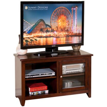 "3447CA-42R 42"""" TV Console with Rib Glass Door and 2 Adjustable Shelves in Cappuccino"" 255786"