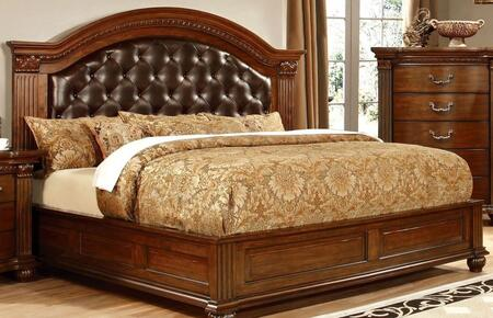 Grandom Collection CM7735Q-BED Queen Size Platform Bed with Button Tufted Leatherette Upholstery  Solid Wood and Wood Veneers Construction in Cherry