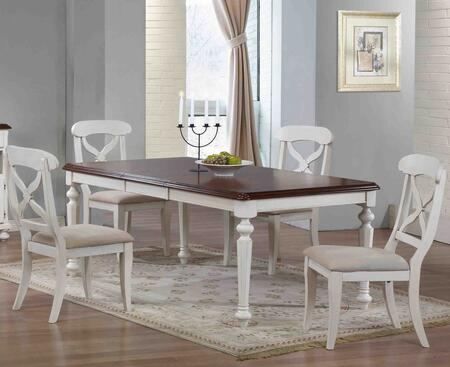 Andrews Collection DLU-ADW4276-C12-AW5PC 5-Piece Dining Room Set with Buttefly Leaf Dining Table and 4x Side Chairs in Antique White with Chestnut Finish