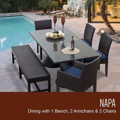 NAPA-RECTANGLE-KIT-2ADC2DC1DBC-NAVY Napa Rectangular Outdoor Patio Dining Table With 4 Chairs and 1 Bench with 2 Covers: Wheat and