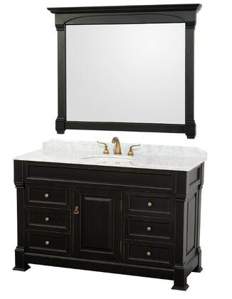 WCVTS55BLCW 55 in. Single Bathroom Vanity in  Antique Black with White Carrera Marble Top with White Undermount Sink and 50 in.