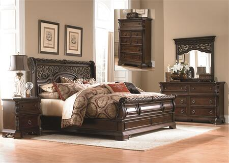 Arbor Place Collection 575-BR-QSLDMCN 5-Piece Bedroom Set with Queen Sleigh Bed  Dresser  Mirror  Chest and Night Stand in Brownstone
