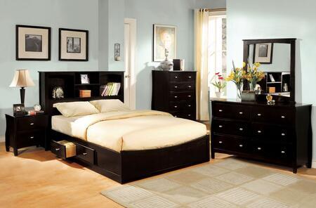 Brooklyn Collection CM7053QBEDSET 5 PC Bedroom Set with Queen Size Platform Bed + Dresser + Mirror + Chest + Nightstand in Espresso