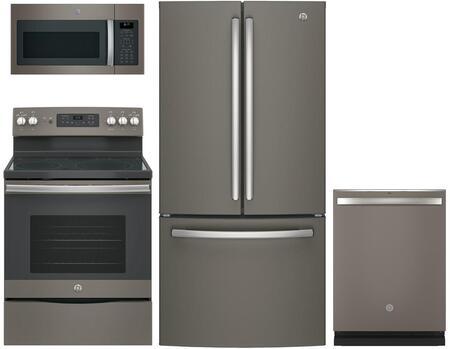 4-Piece Kitchen Package with GNE25JMKES 33 French Door Refrigerator  JB655EKES 30 Freestanding Electric Range  JVM6175EKES 30 Over the Range