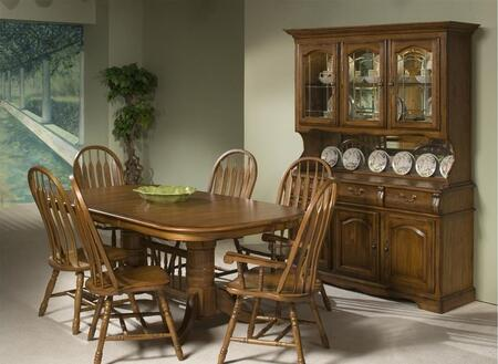 Classic Oak CO-TA-I42963050-BRU-C  Dining Room Solid Oak Trestle and China CabinetTable with Pedestal Base  Distressing Detailing in Burnished Rustic
