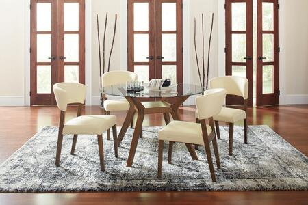 Paxton Collection 122180-S5 5-Piece Dining Room Set with Round Dining Table and 4 Side Chairs in