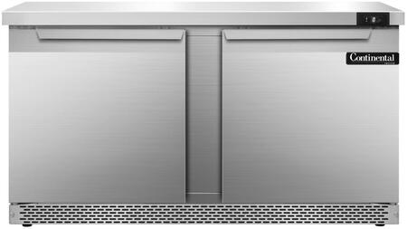 SWF60FB 60 inch  Worktop Freezer with 2 Solid Doors  17 Cu. Ft. Capacity  Front Breathing Compressor  Aluminum Interior  Interior Hanging Thermometer  and