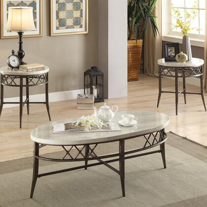 Aldric Collection 83100 3 PC Living Room Table Set with Coffee Table  2 End Tables  White Faux Marble Top  Tapered Legs