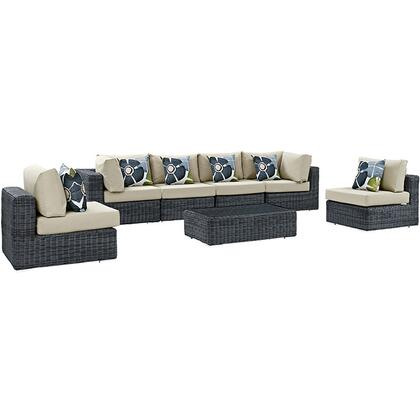 Summon Collection EEI-2392-GRY-BEI-SET 7-Piece Outdoor Patio Sunbrella Sectional Set with 2 Corner Sections  4 Armless Sections and Coffee Table in Canvas
