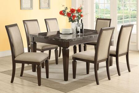 Agatha 72485T8C 9 PC Bar Table Set with Counter Height Table + 8 Chairs in Espresso