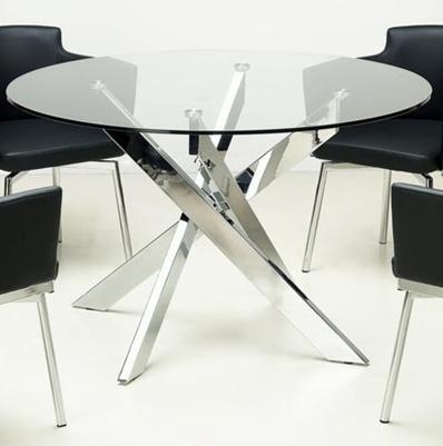 DUSTY-DT DUSTY DINING Clear Glass Round Dining Table with Glass Top and Chrome