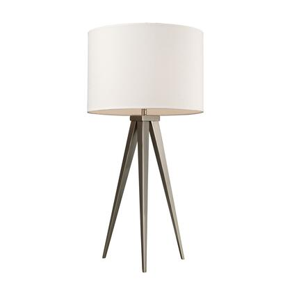 D2122 Salford Table Lamp In Satin Nickel With Off White Linen