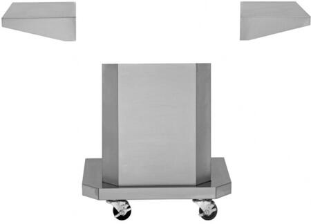 DHPB26-C 26 inch  Pedestal Base with 4 Heavy Duty Casters  2 Stationary Side Shelves  and Rear LP Tank Loading  in Stainless