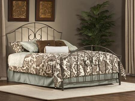 1002BTWR Zurick Twin Size Panel Bed Set with Rails Included  Vertical Bar Pattern and Tubular Steel Construction in Astroid Pewter
