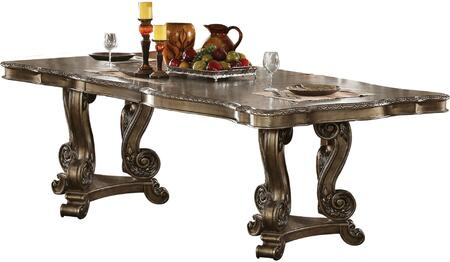 Ragenardus Collection 61290 90 inch  - 114 inch  Dining Table with 1 Extendable Leaf  Tri-Pod Double Pedestal  Floral Motifs  Scrolled Apron  Ash Burl and Black Walnut