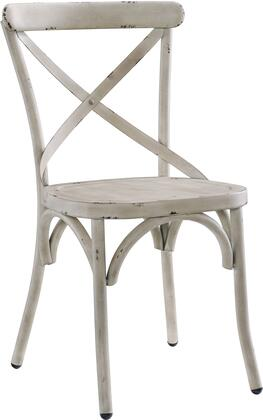 DS-D070 20 inch  Distressed Metal Dining Chair with All-Metal Construction and Classic 'X' Back Style in Antique