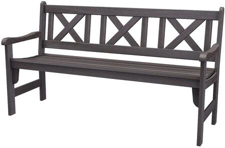 Pieva PIEVAFL21 3-Seater Wooden Garden Bench with Foldable Design  Stretchers and Slat Back in Taupe