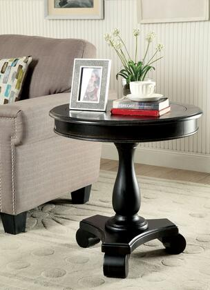 Kalea CM-AC135BK Round Accent Table with Transitional Style  Plank Style Top  Pedestal Design  Solid Wood  Others in