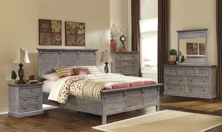 Solstice Grey Collection CF-3001-0441-Q-5PC 5-Piece Queen Bedroom Set with Panel Bed  Dresser  Mirror  Nightstand and Chest in Weathered Grey and