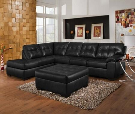 Shi 50620SO 2 PC Living Room Set with Sectional Sofa + Ottoman in Soho Onyx