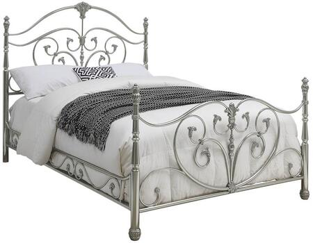 Evita Collection 300608KE King Size Bed with Open-Frame Panel Design  Beautiful Scrollwork  Decorative Finials and Steel Metal Construction in