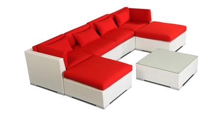 NAPALI7-WHT-RED Modern Outdoor Furniture Sofa Patio Modify-It Aloha Napali 7-Pc Set  White Wicker/Red Cushions By Kardiel