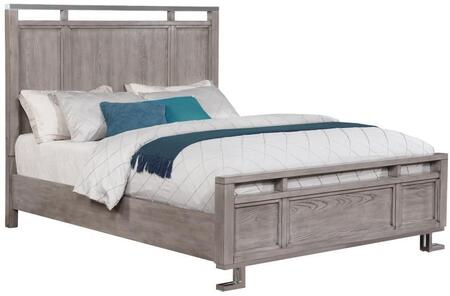Johnathan Collection 205191Q Queen Size Panel Bed with Polished Chrome Metal  White Tempered Glass  Ash Veneer and Solid Poplar Wood Construction in Shell