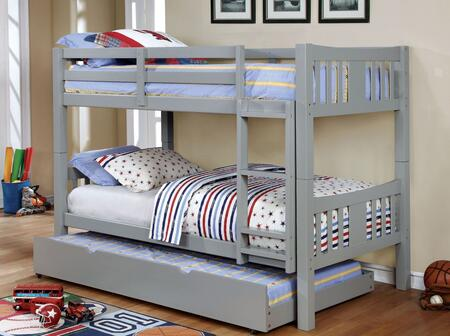 Cameron Collection CM-BK929GY-BED+TR Twin Size Bunk Bed with Trundle  10 PC Slats Top/Bottom  Front Access Fixed Ladder  Solid Wood and Wood Veneer