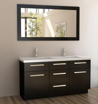 J60-DS Moscony 60 inch  Double Sink Vanity Set in