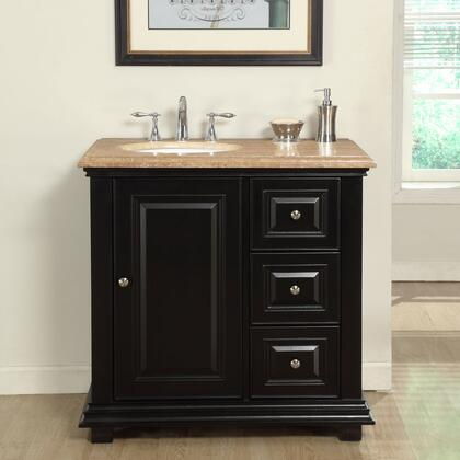 V0281TW36L 36 inch  Single Left Sink Cabinet with 3 Drawers  1 Door  Travertine Top and Undermount White Ceramic Sink