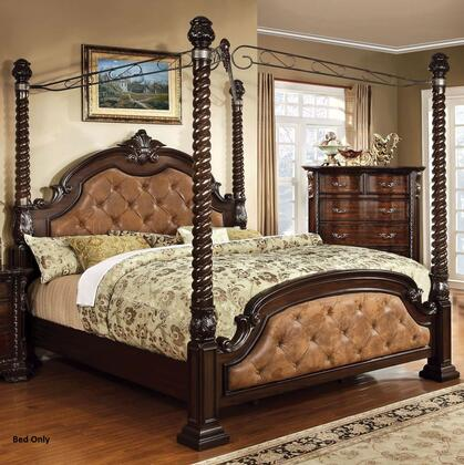 Monte Vista II Collection CM7296DA-C-CK-BED California King Size Poster Canopy Bed with Oval Headboard  Dark Brown Leatherette Upholstery  Solid Wood and Wood