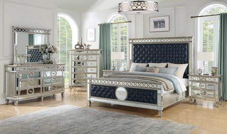 Brooklyn Collection BROOKLYN KING BED SET 6-Piece Bedroom Set with King Size Bed  Dresser  Mirror  Chest and 2 Nightstands in Silver and
