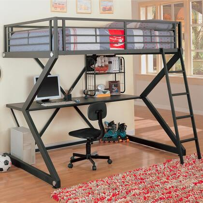Bunks Collection 460092 Full Workstation Twin Size Loft Bed with Full Length Guard Rail  Sigma Design  Desk  Storage Shelf and Metal Construction in Black
