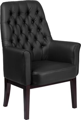 BT-444-SD-BK-GG High Back Traditional Tufted Black Leather Side Reception