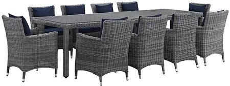 Summon Collection Eei-2332-gry-nav-set 11 Pc Outdoor Patio Dining Set With Synthetic Rattan Weave Material  Powder Coated Aluminum Frame And Sunbrella  Fabric