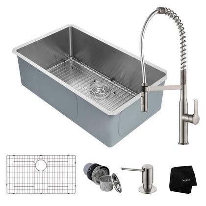 KHU100-32-1650-41SS Kitchen Combo with Handmade Undermount Stainless Steel 32 in. Single Bowl 16 Gauge Kitchen Sink and Nola Commercial Kitchen Faucet with