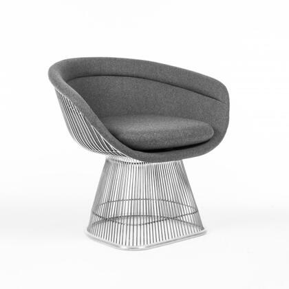 Pella FB7419DK Arm Chair with Stainless Steel Frame  Piped Stitching and Fabric Upholstery in Darkish and