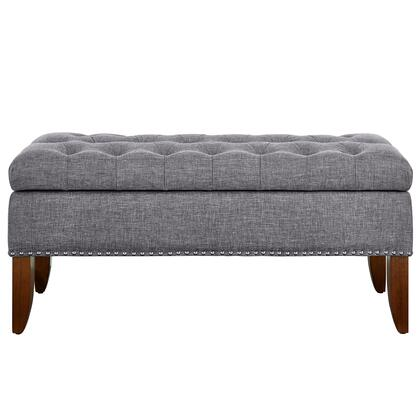 DSD107003620 Grey Hinged Top Button Tufted Storage Bed Bench
