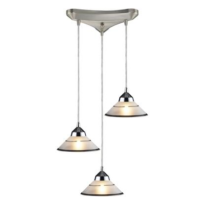 1477/3 3 Light Pendant in Polished Chrome and Etched Clear